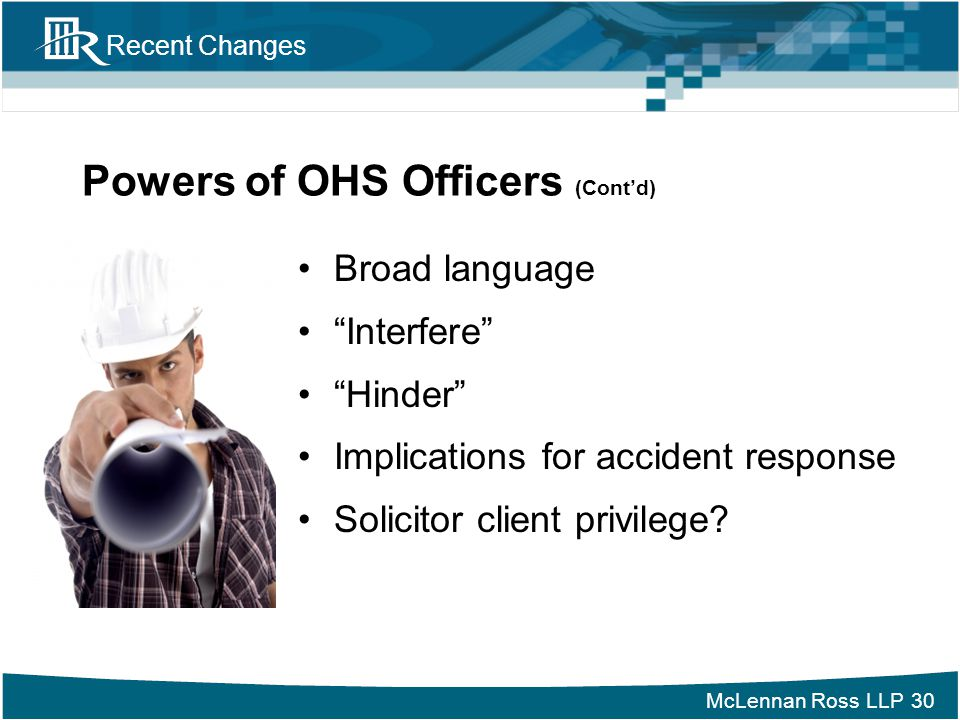 Powers of OHS Officers (Cont'd)