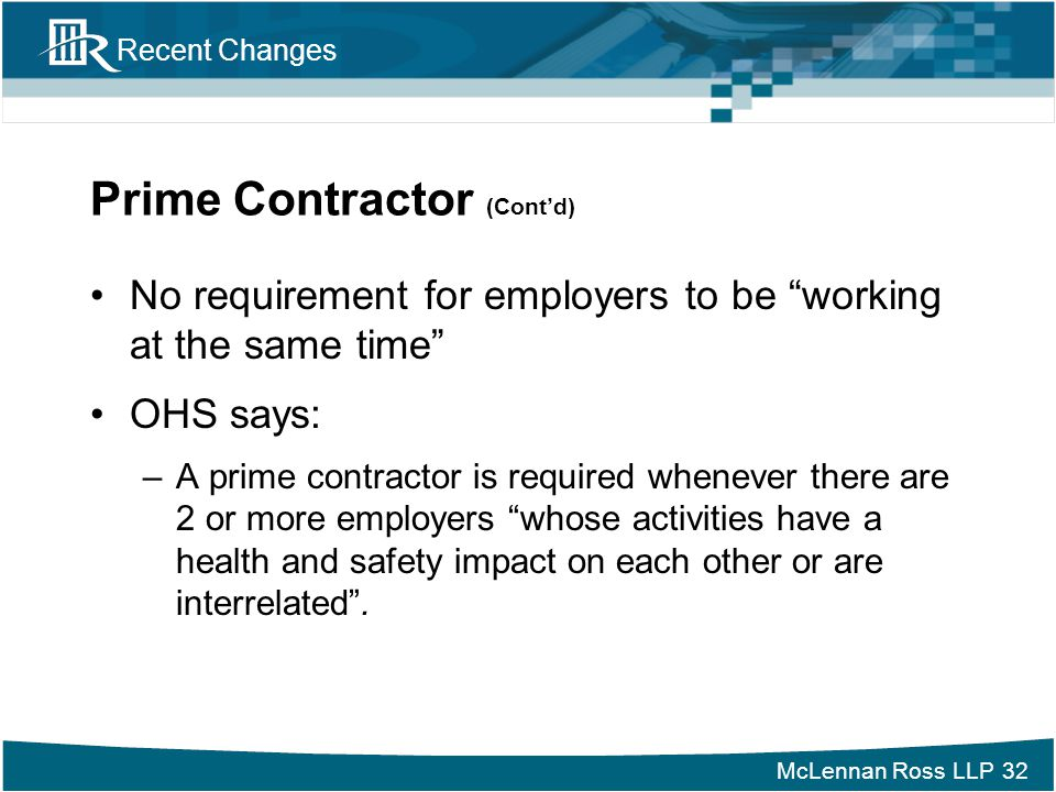 Prime Contractor (Cont'd)