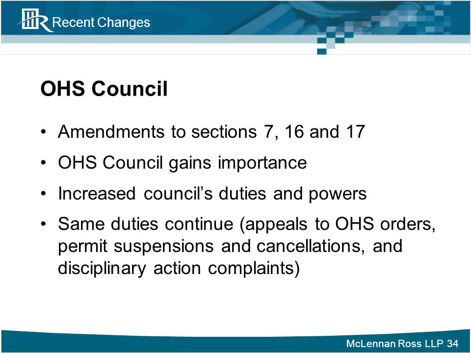 OHS Council Amendments to sections 7, 16 and 17