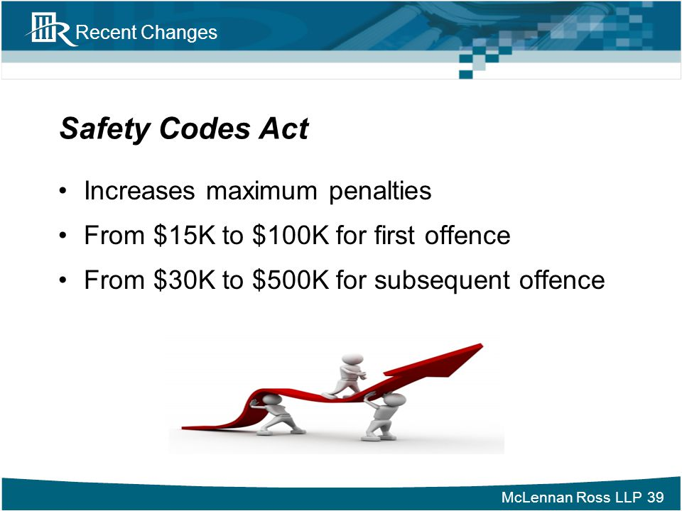 Safety Codes Act Increases maximum penalties