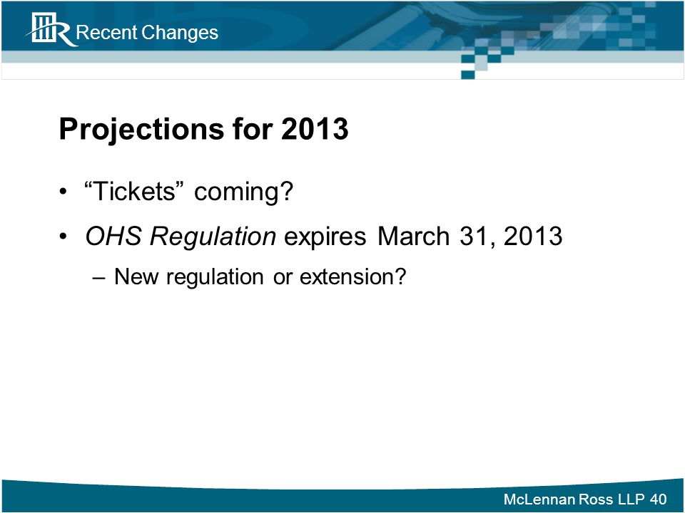 Projections for 2013 Tickets coming
