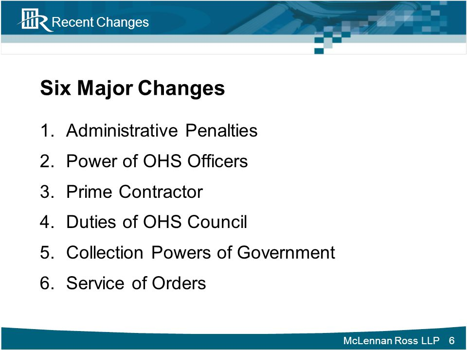 Six Major Changes Administrative Penalties Power of OHS Officers