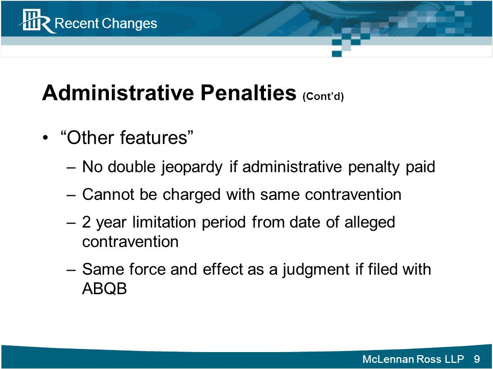Administrative Penalties (Cont'd)
