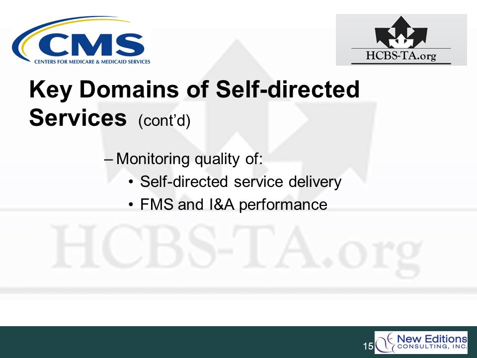 Key Domains of Self-directed Services (cont'd)