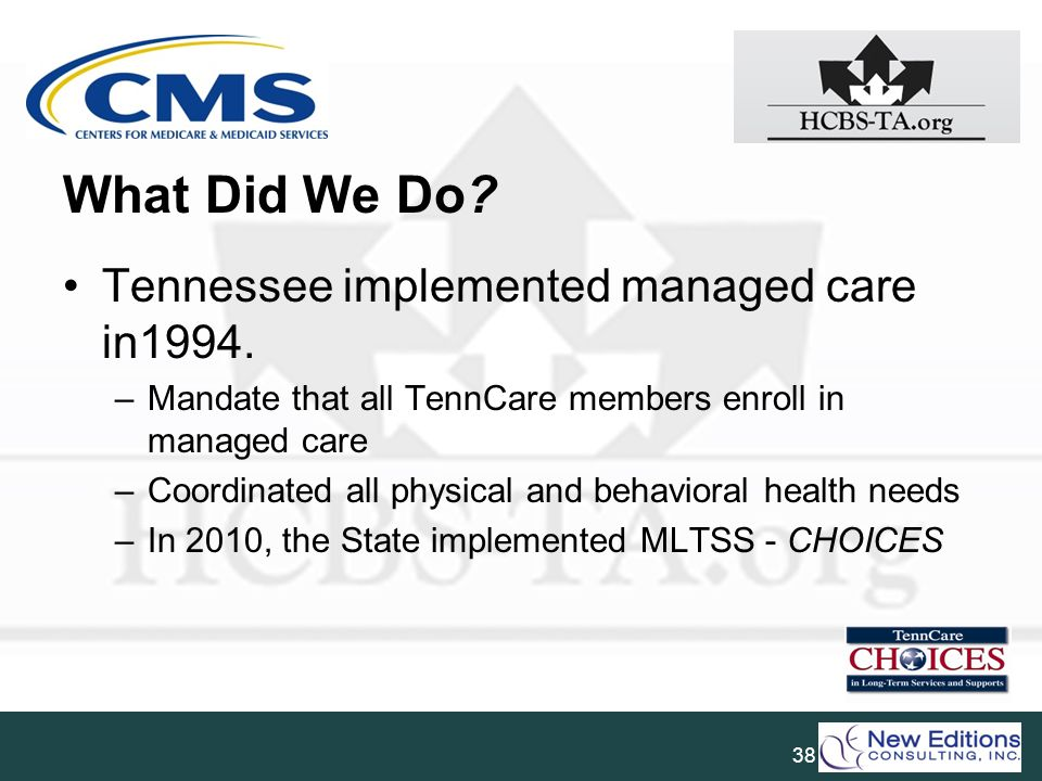 What Did We Do Tennessee implemented managed care in1994.