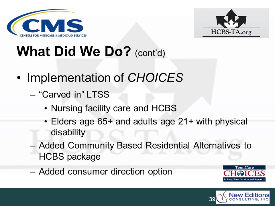 What Did We Do (cont'd) Implementation of CHOICES Carved in LTSS