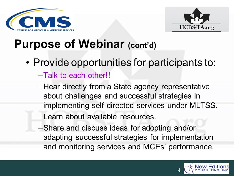 Purpose of Webinar (cont'd)