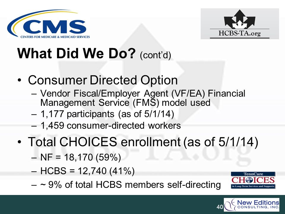 What Did We Do (cont'd) Consumer Directed Option