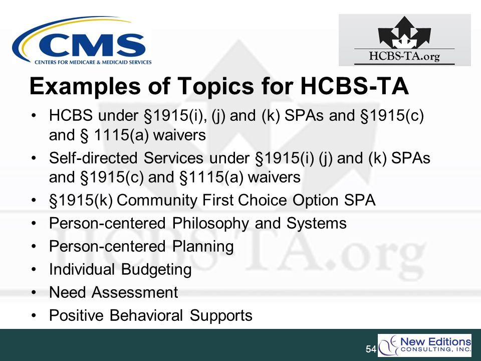 Examples of Topics for HCBS-TA