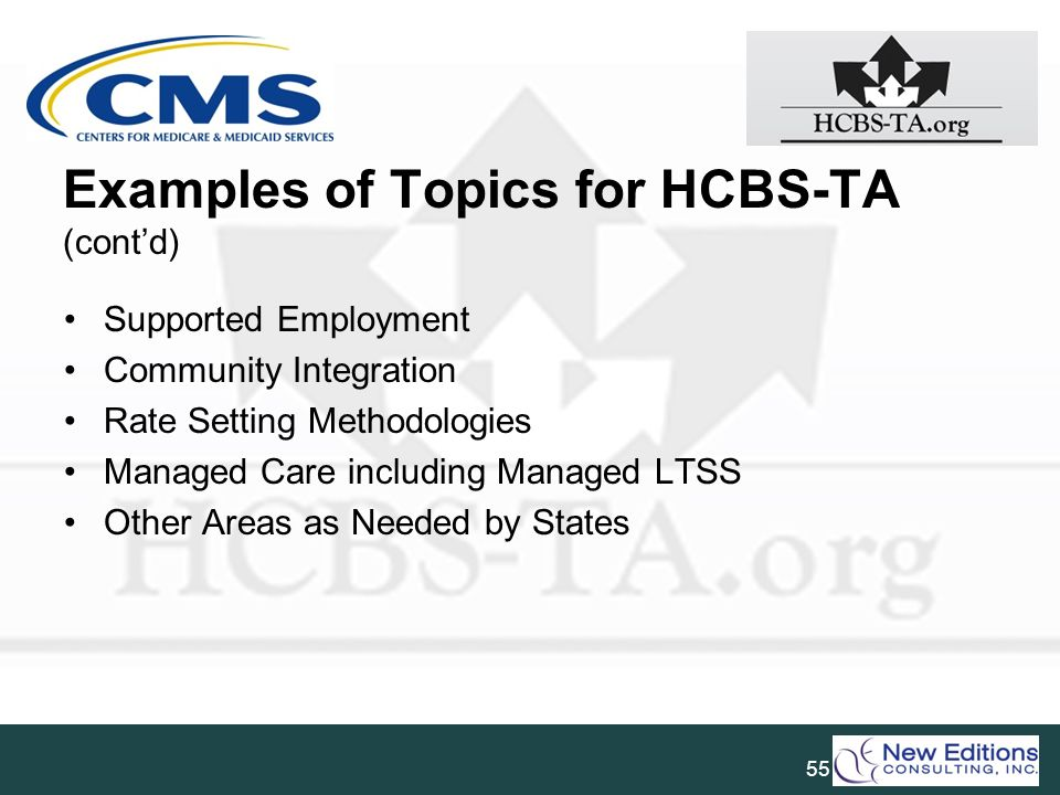 Examples of Topics for HCBS-TA (cont'd)