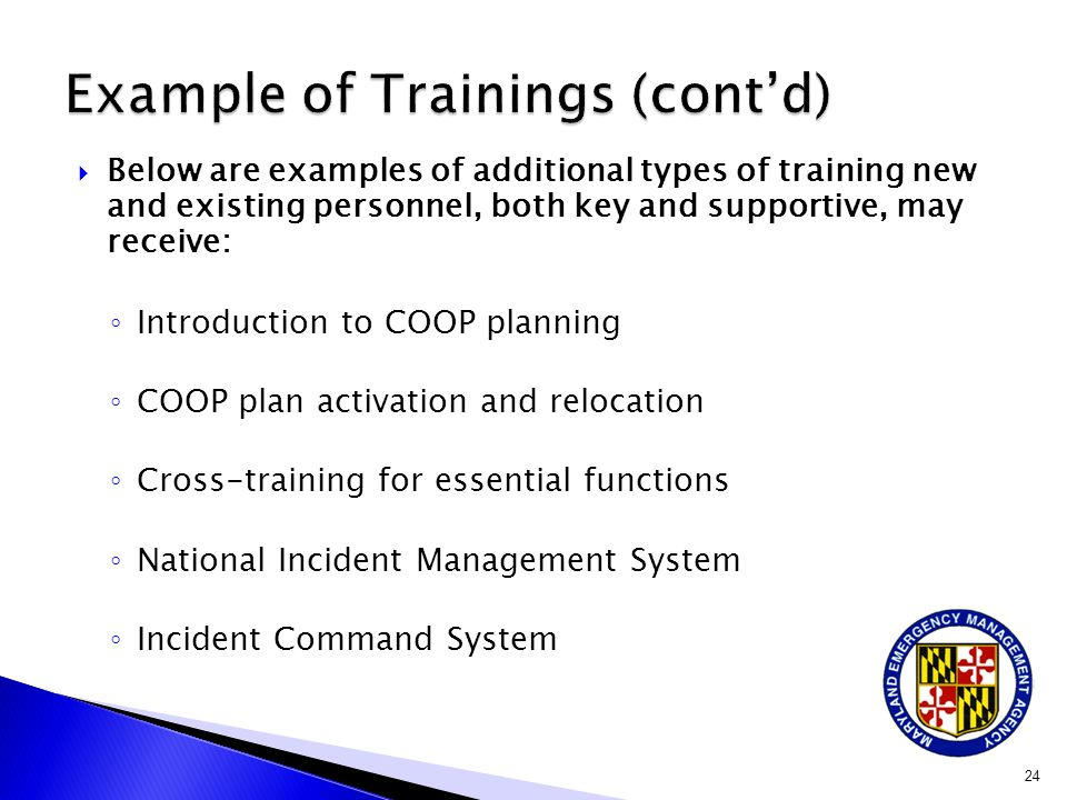 Example of Trainings (cont'd)