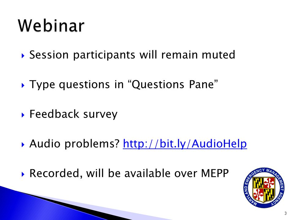 Webinar Session participants will remain muted