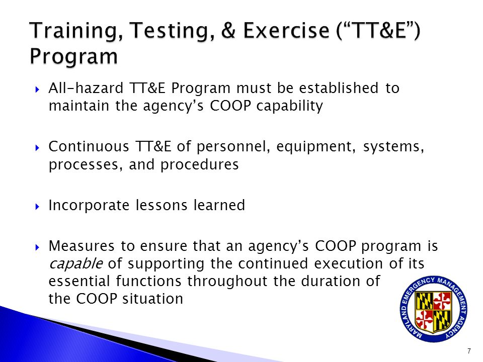 Training, Testing, & Exercise ( TT&E ) Program