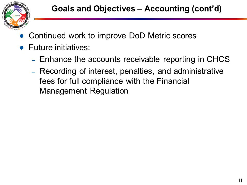 Goals and Objectives – Accounting (cont'd)