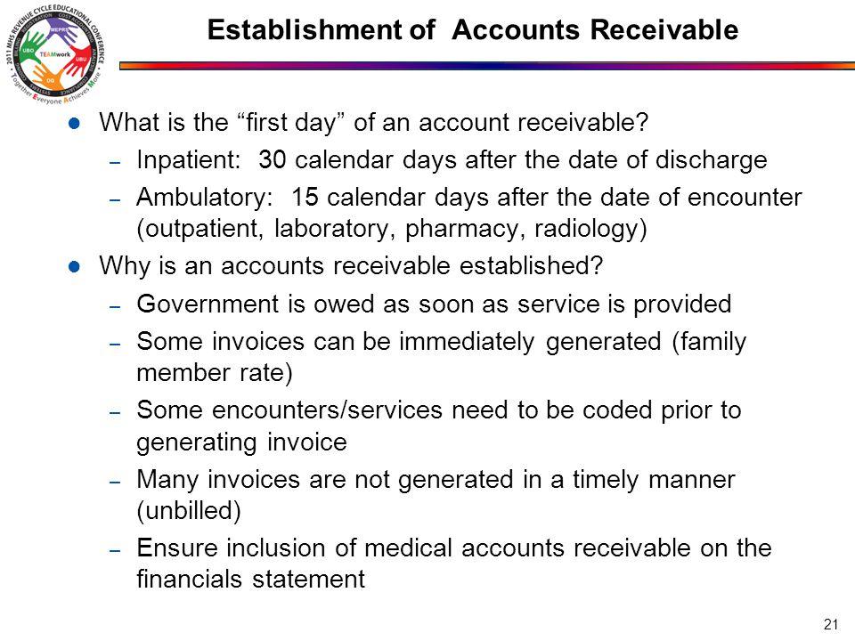Establishment of Accounts Receivable
