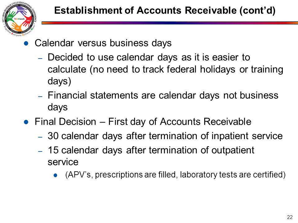 Establishment of Accounts Receivable (cont'd)