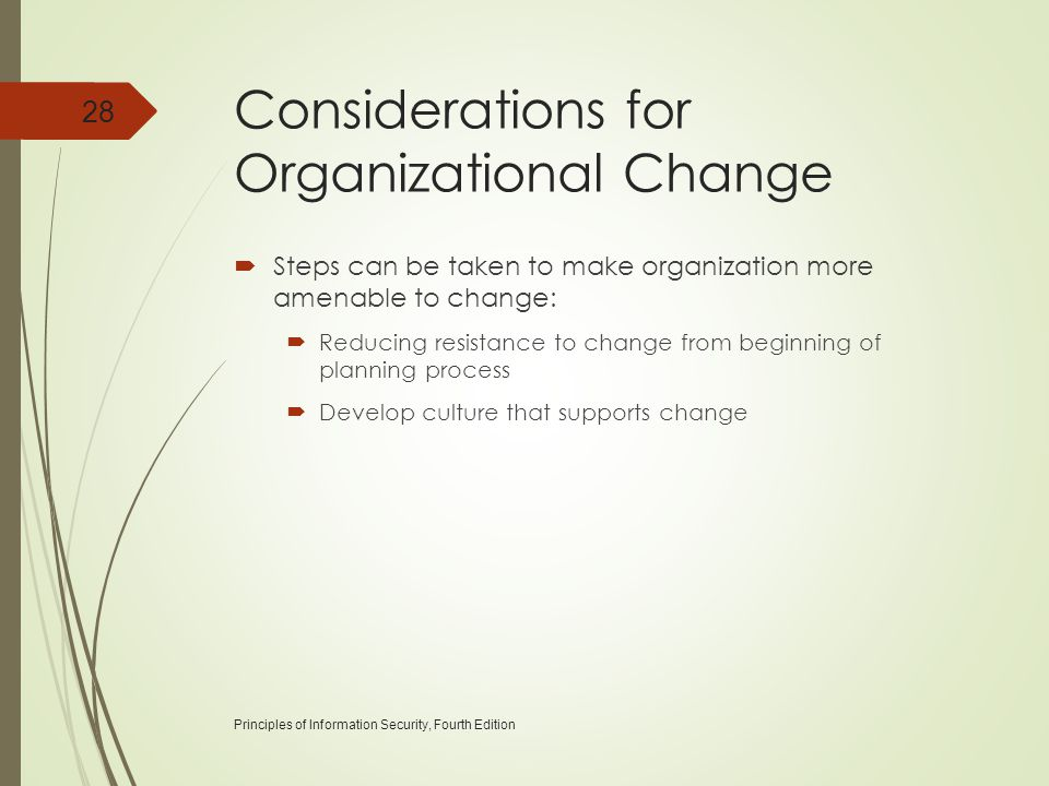 Considerations for Organizational Change