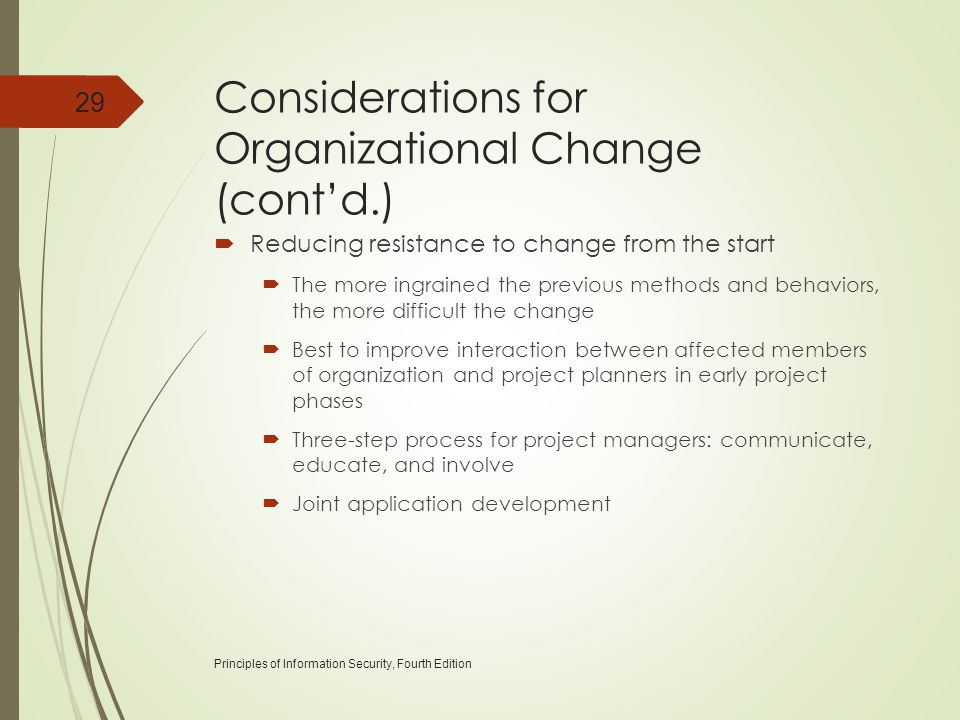Considerations for Organizational Change (cont'd.)