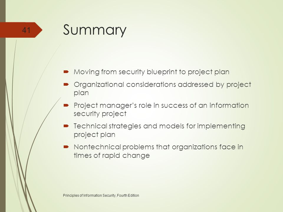 Summary Moving from security blueprint to project plan