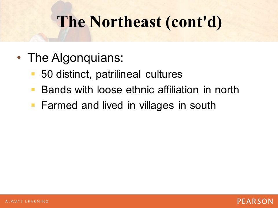 The Northeast (cont d) The Algonquians: