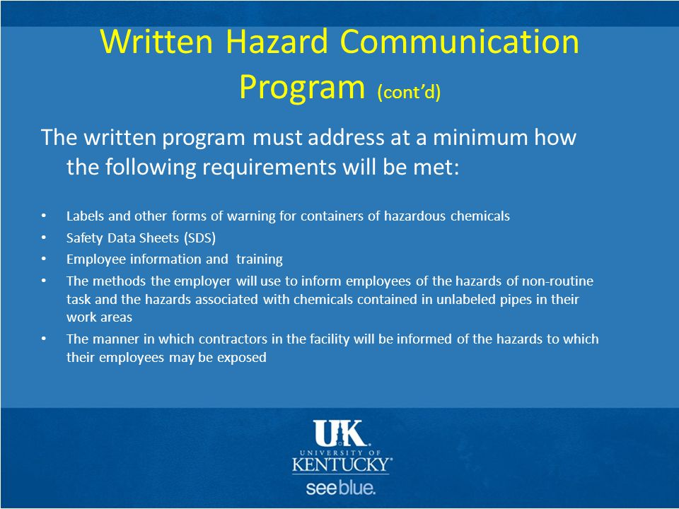 Written Hazard Communication Program (cont'd)