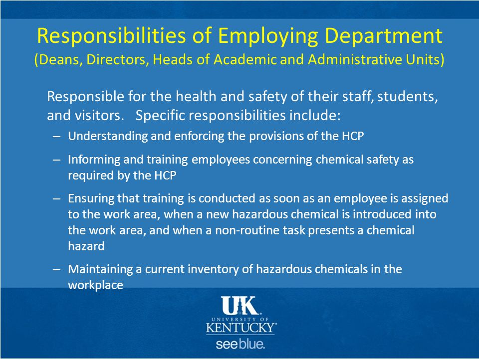 Responsibilities of Employing Department (Deans, Directors, Heads of Academic and Administrative Units)
