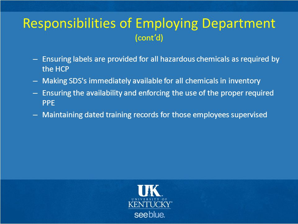 Responsibilities of Employing Department (cont'd)