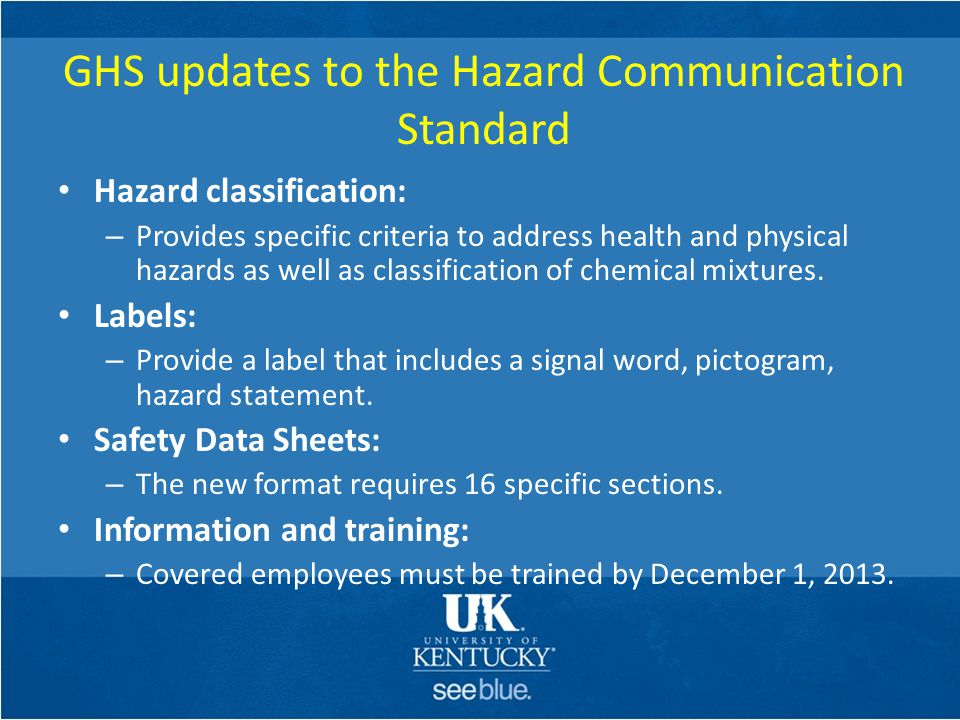 GHS updates to the Hazard Communication Standard