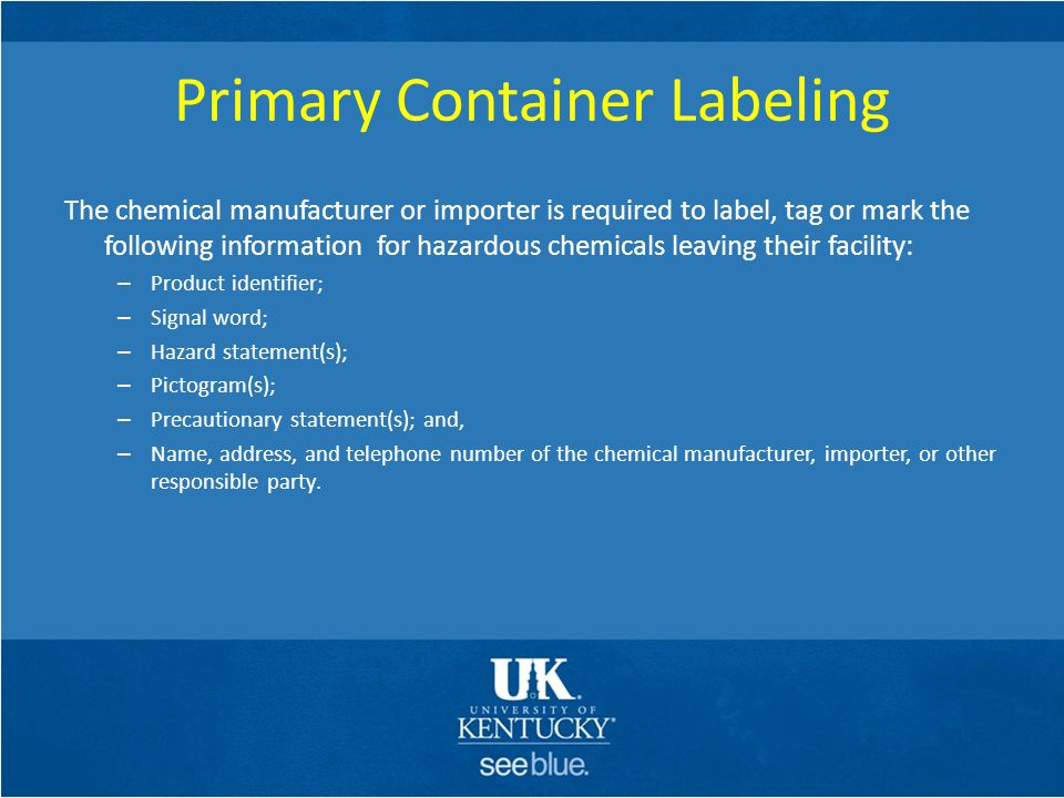 Primary Container Labeling