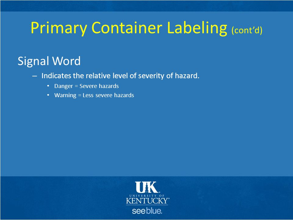 Primary Container Labeling (cont'd)