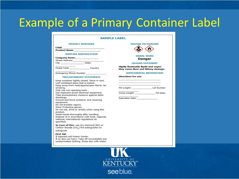 Example of a Primary Container Label