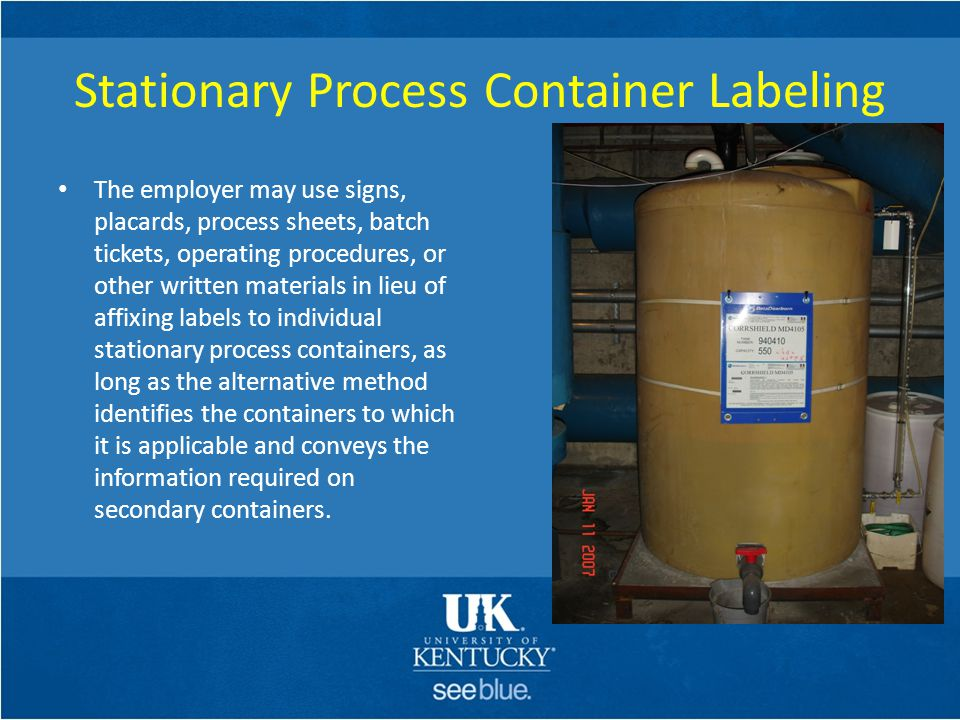 Stationary Process Container Labeling