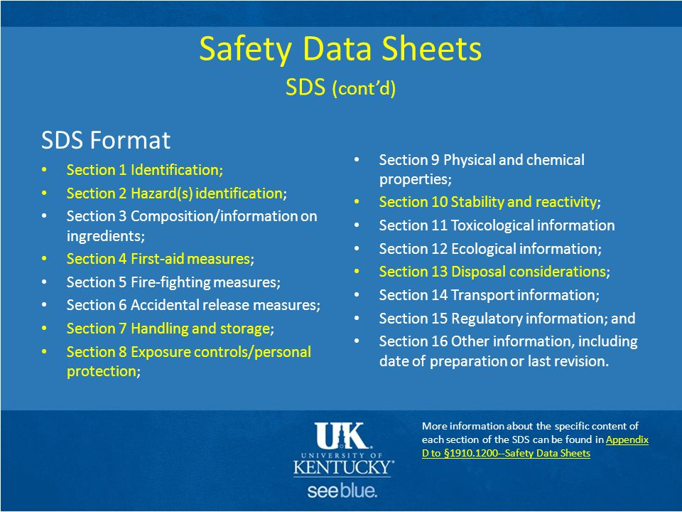 Safety Data Sheets SDS (cont'd)