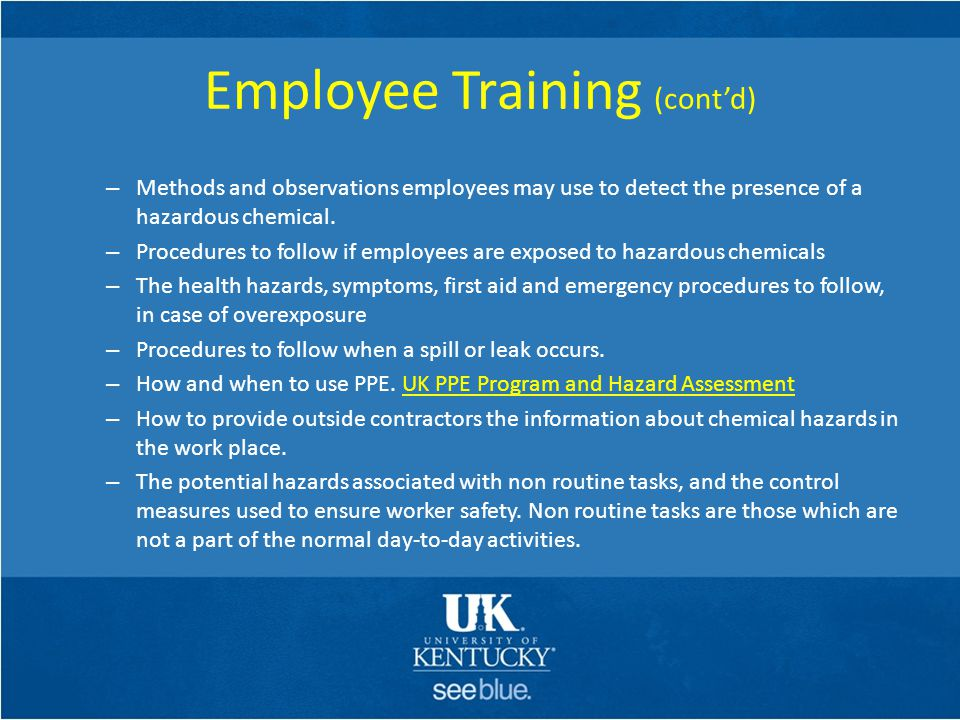 Employee Training (cont'd)
