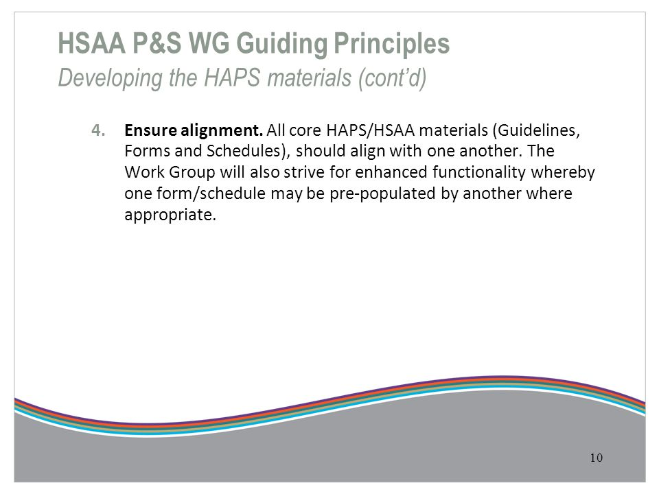 HSAA P&S WG Guiding Principles Developing the HAPS materials (cont'd)