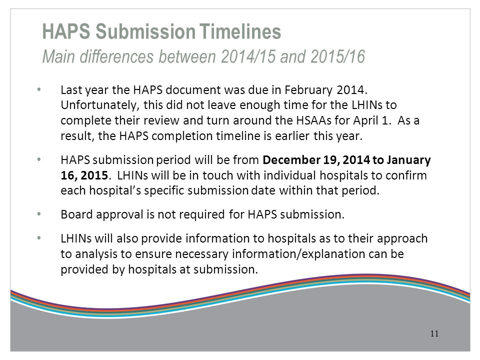 HAPS Submission Timelines Main differences between 2014/15 and 2015/16