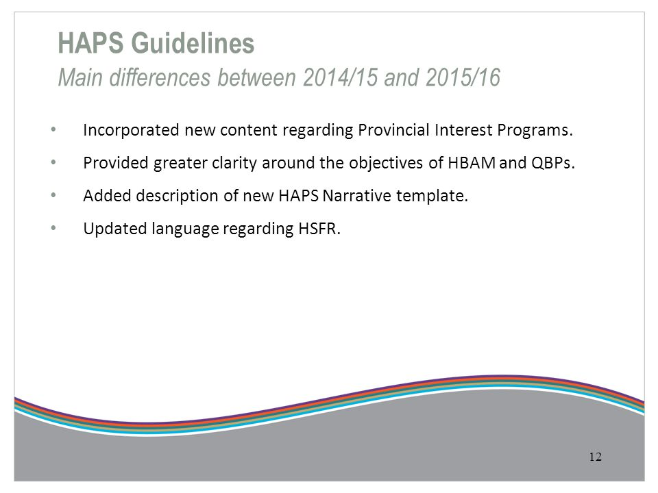 HAPS Guidelines Main differences between 2014/15 and 2015/16