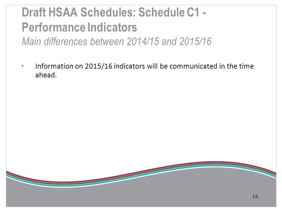 Draft HSAA Schedules: Schedule C1 - Performance Indicators Main differences between 2014/15 and 2015/16