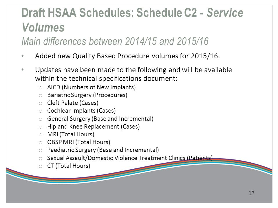 Draft HSAA Schedules: Schedule C2 - Service Volumes Main differences between 2014/15 and 2015/16