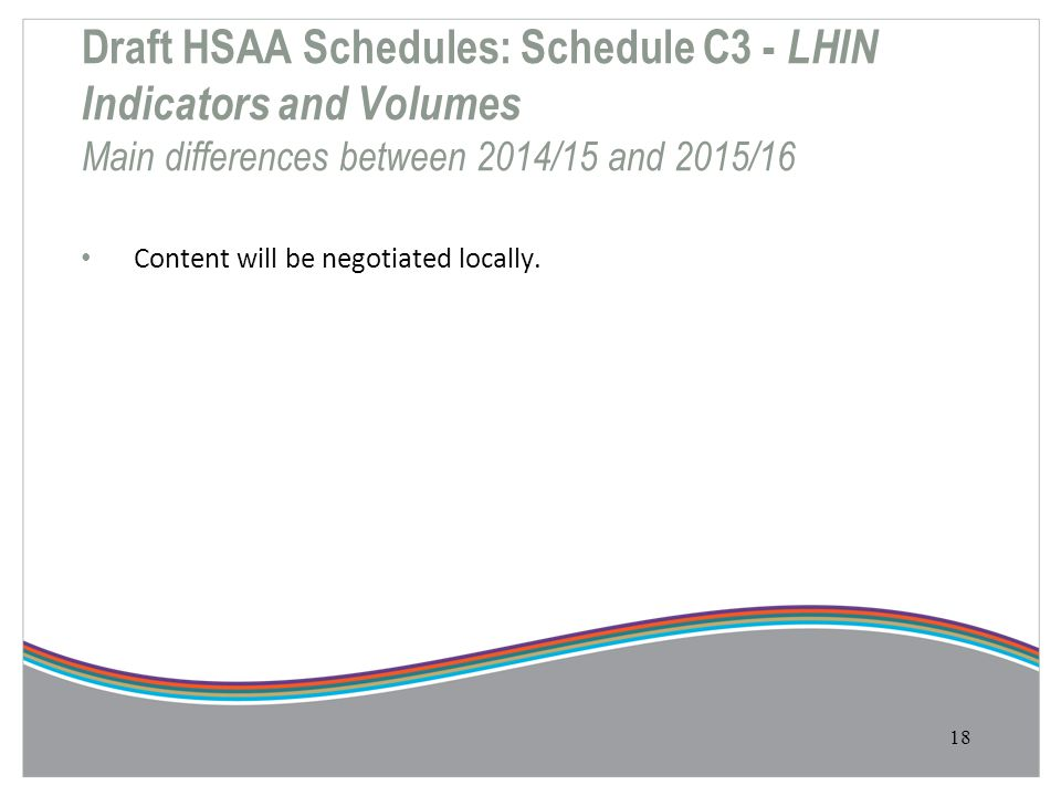 Draft HSAA Schedules: Schedule C3 - LHIN Indicators and Volumes Main differences between 2014/15 and 2015/16