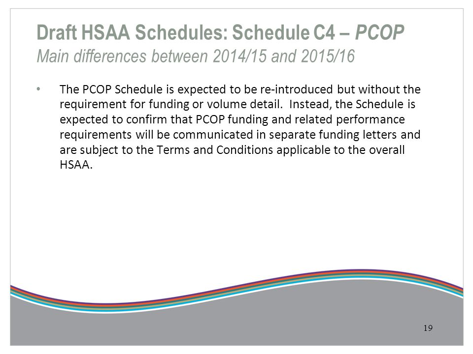 Draft HSAA Schedules: Schedule C4 – PCOP Main differences between 2014/15 and 2015/16