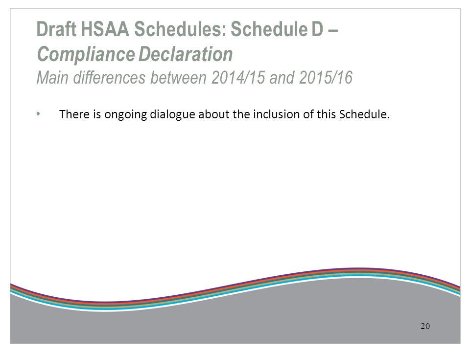 Draft HSAA Schedules: Schedule D – Compliance Declaration Main differences between 2014/15 and 2015/16