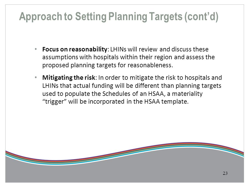 Approach to Setting Planning Targets (cont'd)