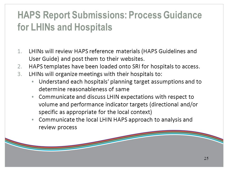 HAPS Report Submissions: Process Guidance for LHINs and Hospitals