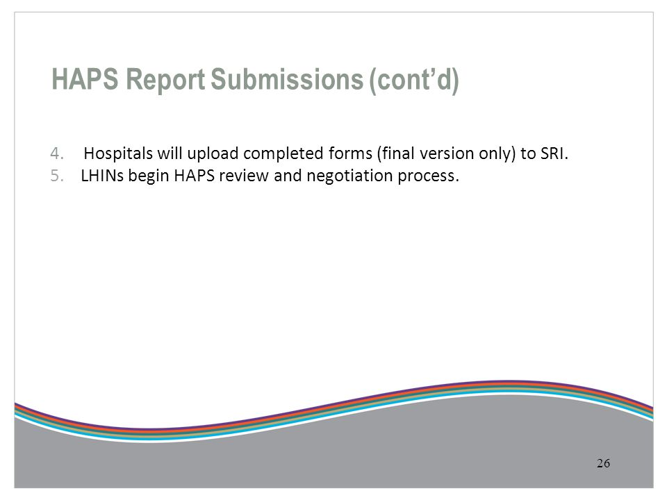 HAPS Report Submissions (cont'd)