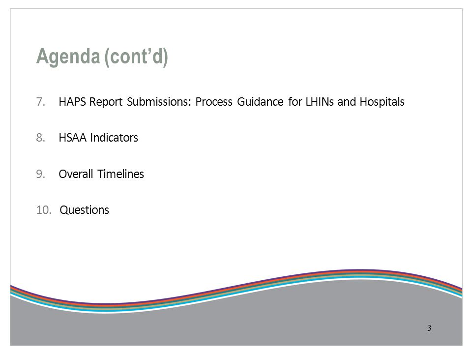 Agenda (cont'd) 7. HAPS Report Submissions: Process Guidance for LHINs and Hospitals 8.