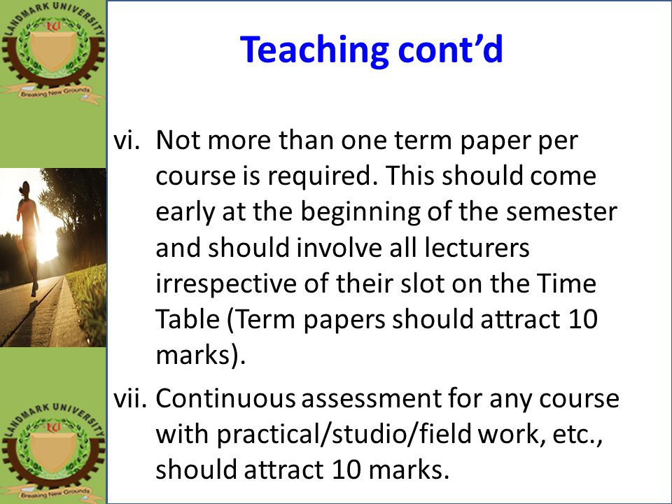 Teaching cont'd