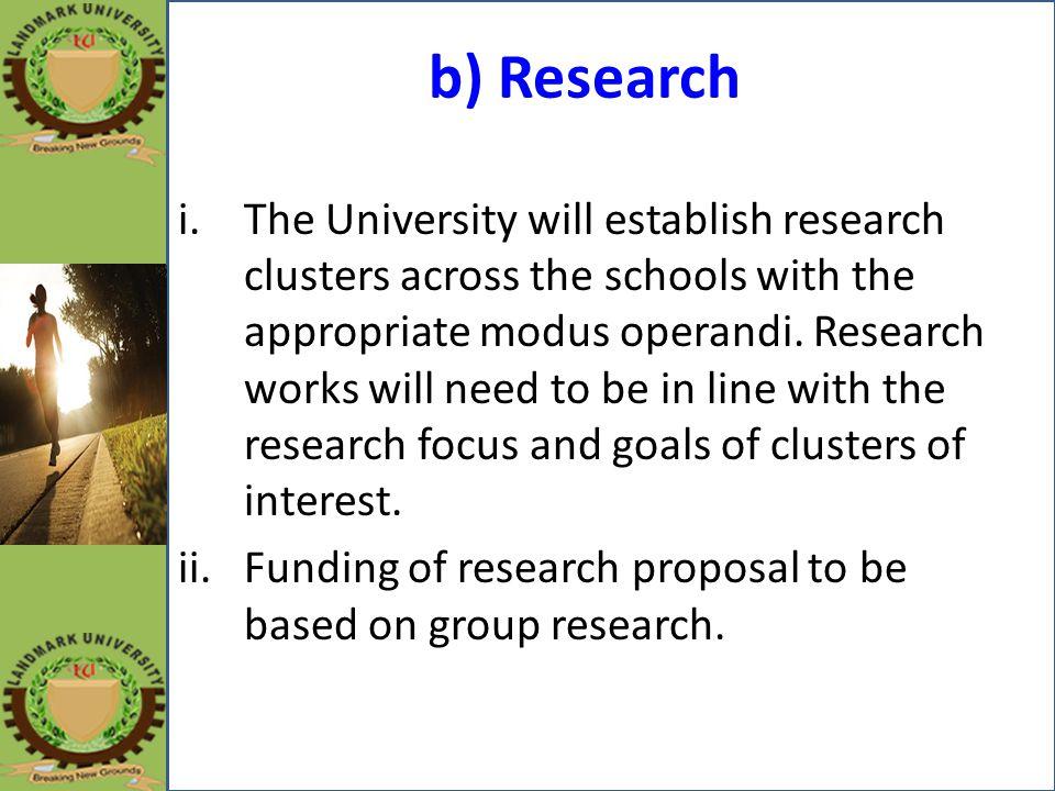 b) Research