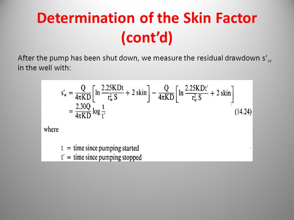 Determination of the Skin Factor (cont'd)