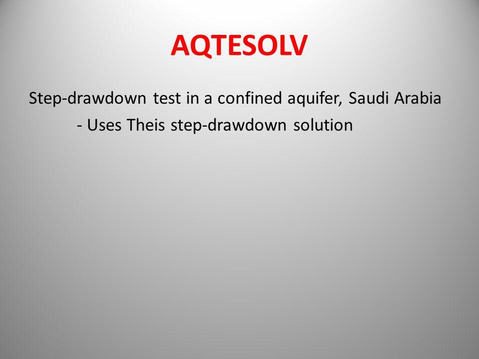 AQTESOLV Step-drawdown test in a confined aquifer, Saudi Arabia - Uses Theis step-drawdown solution